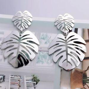 Silver Tone Leaves Earrings